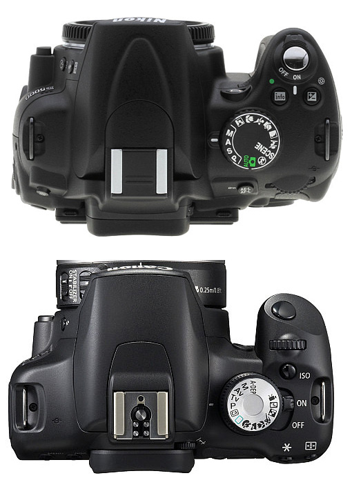 Top view : Nikon D5000 dan EOS 500D (credit : radiantlite)