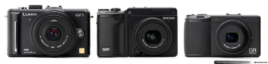 Panasonic GF1, Ricoh GRX and Ricoh GRD III comparison. Image by dpreview.com