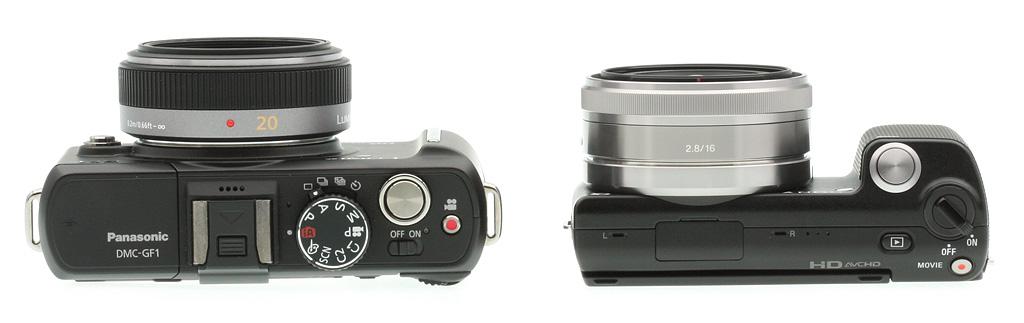left to right: Panasonic GF1 vs Sony NEX-5