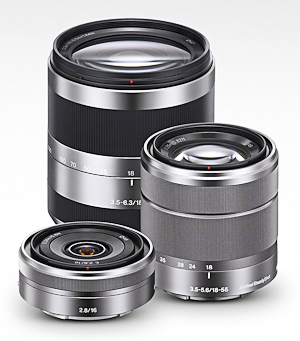 Sony E lenses, 24mm f/2.8, 18-55mm and 18-200mm