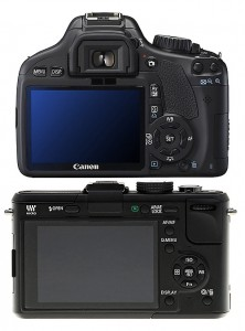 From the back, the size is almost similar. Please notice that GF1 does not have optical viewfinder