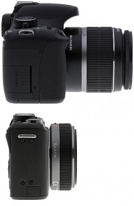 From the side, Panasonic GF1 is far more compact, but notice the lens used is 20mm f/1.7 not the zoom lens. It will appear longer if GF1 is attached with its kit zoom lens.