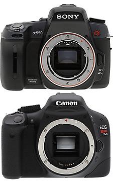 Sony A550 vs Canon EOS T2i front