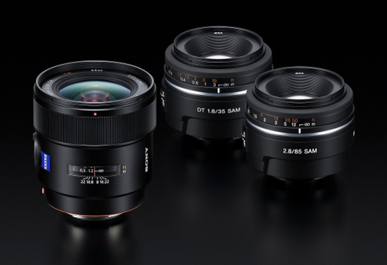 Sony 24mm f/2, Sony 35mm f/1.8 and 85mm f/2.8