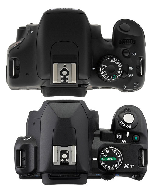 Top: Canon T2i/550D, Below: Pentax Kr