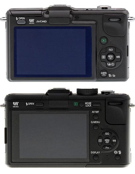 Top: Panasonic GF2, below: GF1. GF2 is slightly slimmer