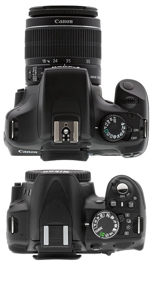 Top: Canon T3, Bottom: Nikon D3100