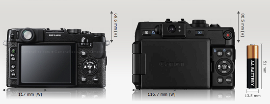 Both cameras has plenty of direct access buttons and dials, however, G1X has articulated hi-res screen