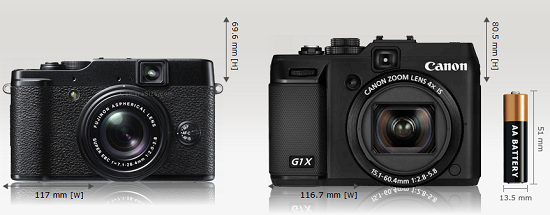 Fujifilm X10 and Canon G1 X front - Canon G1 X is taller - screenshot from camerasize.com
