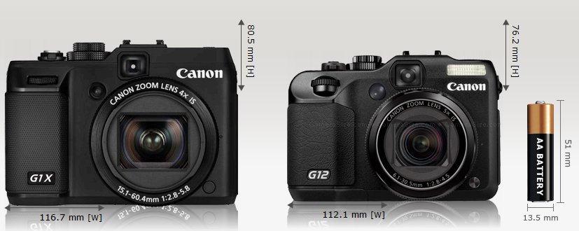 Canon G1x (left) compared to Canon G12 (right)