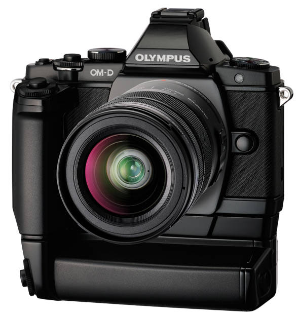 Olympus OM-D with battery grip. It has two extra shutter buttons and looks like analog camera in the past. This image is circulating in the internet as a rumor, I am not sure about its authencity