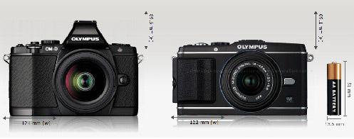 Left: First Olympus OM-D camera, EM-5. Right: Olympus PEN E-P3 - image courtesy of camerasize.com