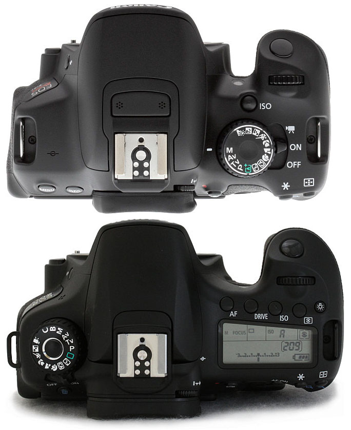Top - Bottom : Canon T4i vs Canon 60D 