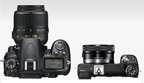 Nikon D7000+18-55mm VR compared with Sony NEX 6 with 16-50mm kit lens. Sony NEX 6 is amazingnya smaller than DSLR camera set up